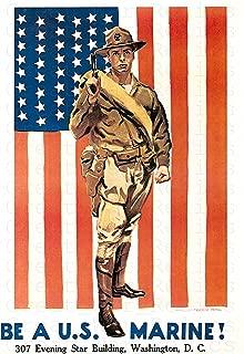 UpCrafts Studio Design American War Propaganda Poster 11.7 x 16.5 - BE A US Marine - Military Decorations Bedrooms, Wall Art Living Room