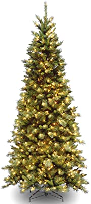 National Tree Company Pre-lit Artificial Christmas Tree   Includes Pre-strung White Lights and Stand   Tiffany Fir - 7.5 ft