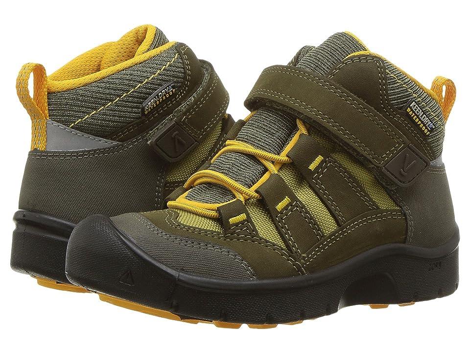 Keen Kids Hikeport Mid WP (Toddler/Little Kid) (Dark Olive/Citrus) Boys Shoes