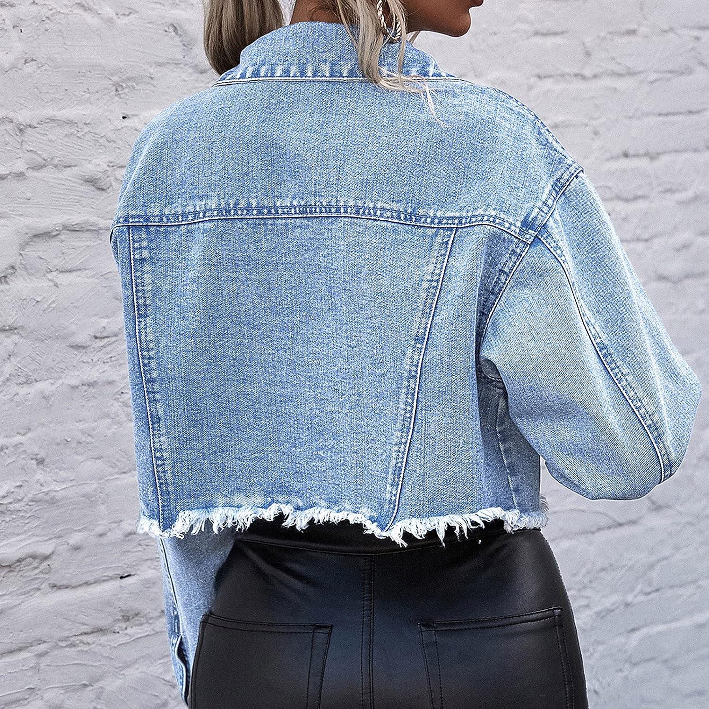Womens Coats Tight Solid Button Casual Jacket Pocket Imitation Old Short Denim Jackets Coat