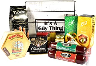 Gift Basket Village It's A Guy Thing, Gift Basket For Guys with Cheese, Sausage, Crackers and Sweets, 8 Piece Set, Origina...