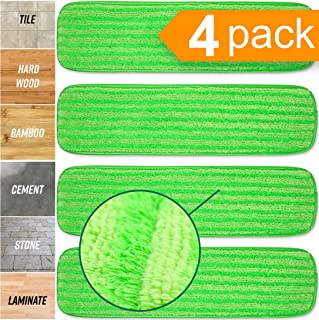 Microfiber Mop Pads 4 Pack - Reusable Washable Cloth Mop Head Replacements Best Thick Spray Wet Dust Dry Flat Velcro Attachment 18
