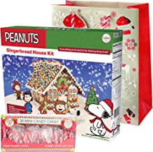 Peanuts Snoopy Gingerbread House Kit Pre-baked + Pack of 30 Mini Peppermint Candy Cane + Holiday Themed Gift Basket Bag   Christmas DIY Large 29 Oz Kit   Pre-made Icing Fruity Gummies Scene Setters