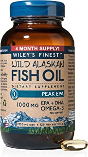 Wiley's Finest Peak EPA 1000mg EPA + DHA Omega-3 Per Softgel - High Potency Wild Alaskan Fish Oil IFOS Certified Fish Gelatin Capsules 120 Count