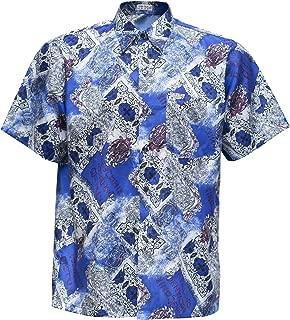 THAI SILK Men's Shirt Short Sleeve Vintage Patterned