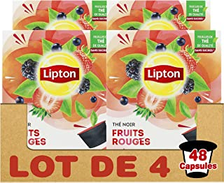 Lipton Thé Noir Fruits Rouges, Capsules Compatibles Nescafé Dolce Gusto Label Rainforest Alliance 48 Capsules (Lot de 4x12...