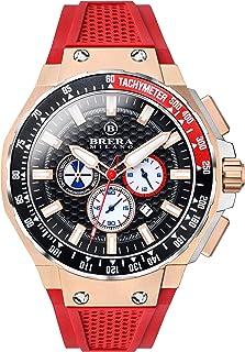 Brera Milano - Reloj de hombre Granturismo Gt2 45 mm cronógrafo de cuarzo caja acero oro rosa/acero, esfera negra – Correa de caucho natural rojo, deployant oro rosa Bmgtqc4502a