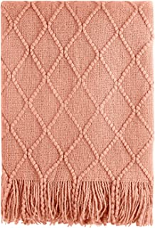 Bourina Coral Throw Blanket Textured Solid Soft Sofa Couch Decorative Knit Blanket,..
