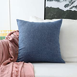 Home Brilliant Indigo Linen Decorative Pillow Covers Lined Cushion Cover for Couch, 20x20 Inch(50x50cm), Dark Medium Blue