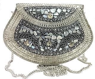 Trend Overseas Women's Metal Mosaic Stone Shell Ethnic Vintage Sling Bag (Silver)