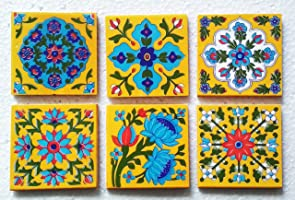 Shiv Kripa Blue Pottery Decorative Multi Patterned Ceramic 4 x 4 inch Tiles (Pack of 6 Tiles)
