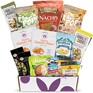 Gluten Free Vegan Chip Box: Variety of Healthy Sweet & Savory Chips – Nuts - Seeds - Fruit Stix - Healthy Care Package Gift Box