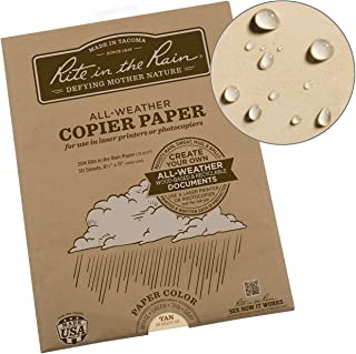 "Rite in the Rain Weatherproof Laser, 8.5"" x 11"", Tan Colored Printer Paper, 50 Sheet Pack (9511T-50)"