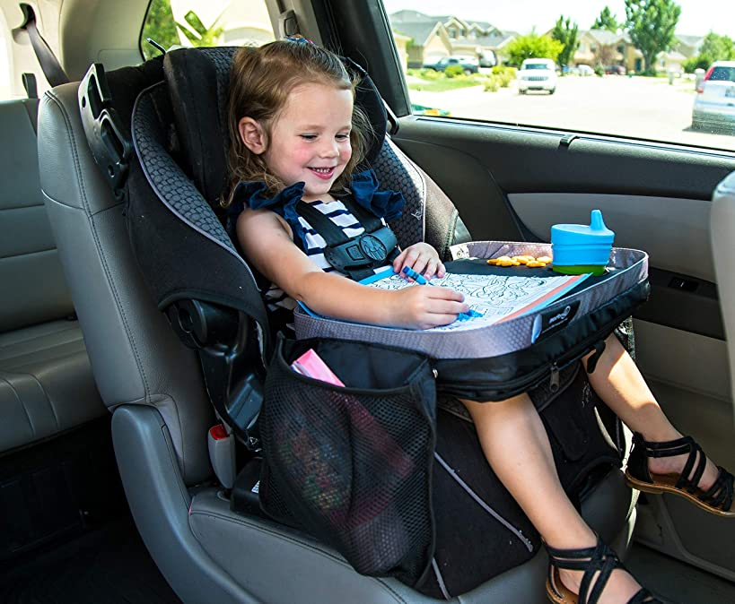 Kids E-Z Travel Lap Desk Tray by Modfamily-Universal Fit for Car Seat, Stroller & Airplane - Organized Access to Drawing, Snacks, and Activities. Includes Bonus Printable Travel Games - (Black)