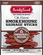 product image for Bridgford Smokehouse Sausage Sticks, High Protein, Made With 100% American Beef, Gluten Free, Original, 6 oz, Pack of 2