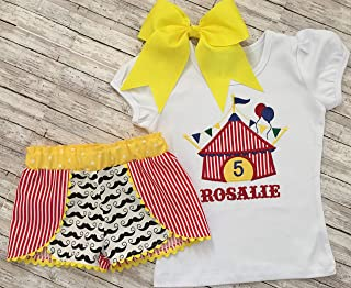 6312389e06f Girl Personalized Circus Birthday Top and Shorts Little Girls Circus Outfit  Custom Circus Birthday Shirt and