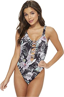 THE BIKINI LAB - What's My Sage Again Plunge High Neck One-Piece