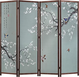 MyGift 4-Panel Asian Cherry Blossom Tree & Birds Room Divider with Calligraphy