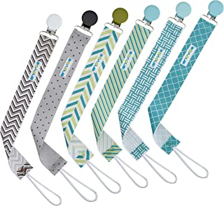 Pacifier Clip by Enovoe - 6 Pack of Pacifier Clips (BPA Free, Lead Free, Latex Free) - Stylish Teething Ring Holder for Baby Boys and Girls, Perfect Gift Set of Pacifier Holder for Baby Shower