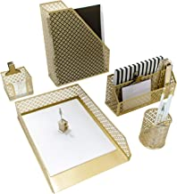 Blu Monaco 5 Piece Cute Gold Desk Organizer Set - Desk Organizers and Accessories for Women - Cute Office Gold Desk Accessories - Desktop Organization