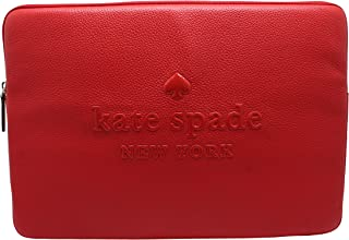 """Kate Spade Sienne Logo Leather Laptop Sleeve Case Hot Chili Red (Up to 15"""")"""