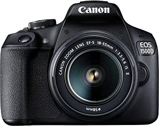 Canon EOS 1500D 24.1 Digital SLR Camera (Black) with EF S18-55 is II Lens, 16GB Card and Carry Case
