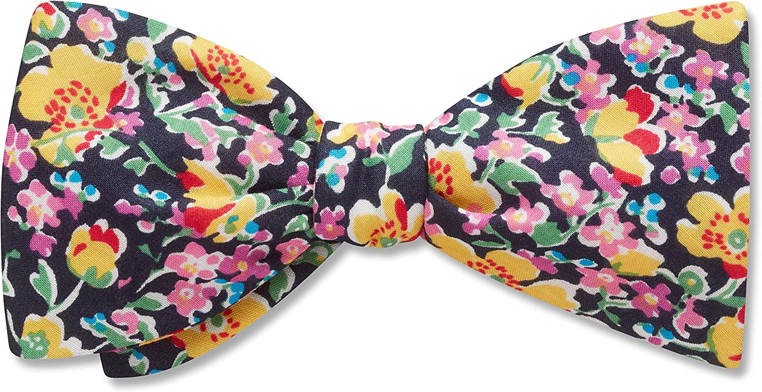 Cristiana Floral,Black,Yellow,Cotton Floral, Men's Bow Tie, Handmade in the USA