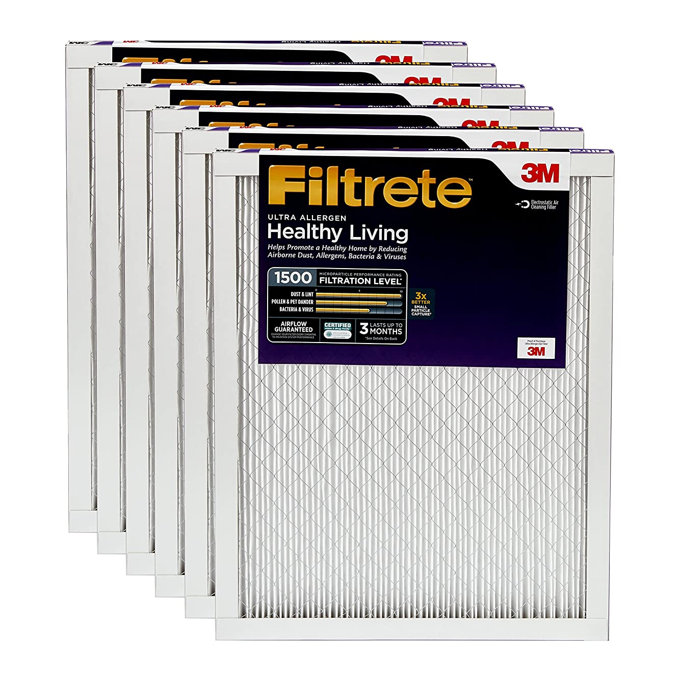 Filtrete 24x24x1, AC Furnace Air Filter, MPR 1500, Healthy Living Ultra Allergen, 6-Pack