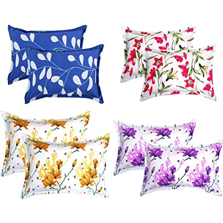 """BSB HOME® Cotton 8 Piece Cotton King Size Pillow Cover Set - 20""""x30"""" Assorted Collection"""