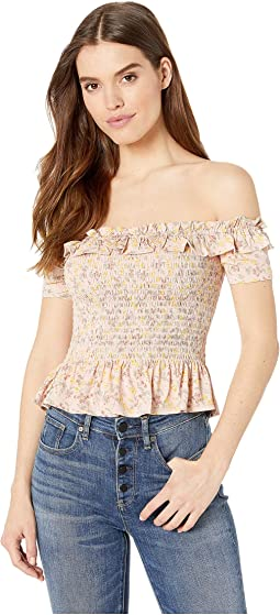 Smocked Off Shoulder Knit Top