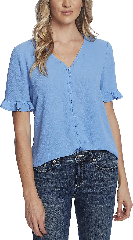 CeCe Sportswear Women's 3/4 Sleeve Ruffled Button Down Blouse