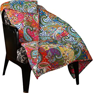 RAJRANG Multicolor Patchwork Quilt Vintage Indian Reversible Quilted Throw Blanket Super Soft and Warm Living Room Decorative for Sofa and Couch 51 x 67 Inches