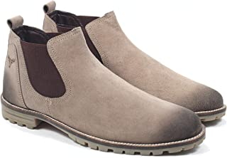 Freacksters Suede Leather Canvas Sneakers Chelsea Boots for Men (Beige)