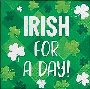 Creative Converting Shamrocks Irish for a Day Beverage Napkins, 5