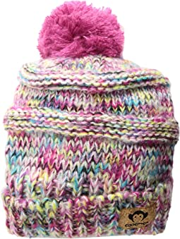 Soft Multicolored Knit Slouchy Tilly Hat with Puff Ball (Infant/Toddler/Little Kids/Big Kids)