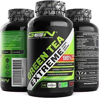 Green Tea Extreme - 180 Kapseln - 1370 mg Grüner Tee Extrakt pro Tagesdosis - 95% Polyphenole & 45% EGCG & Piperin - Laborgeprüfter Grüntee - Hochdosiert - Vegan - German Elite Nutrition