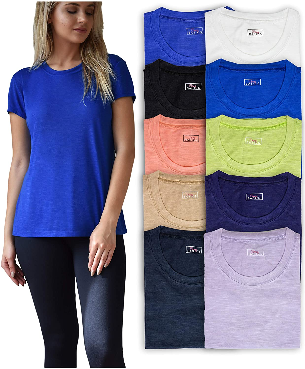 Sexy Basics Women's 10 Pack Everyday Flowy Slub Burnout Active Casual Workout Crew T Shirt Tops