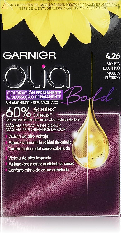 Garnier Olia - Coloración Permanente sin Amoniaco, con Aceites Florales de Origen Natural - Tono Bold Violeta Eléctrico 4.26 - pack de 3