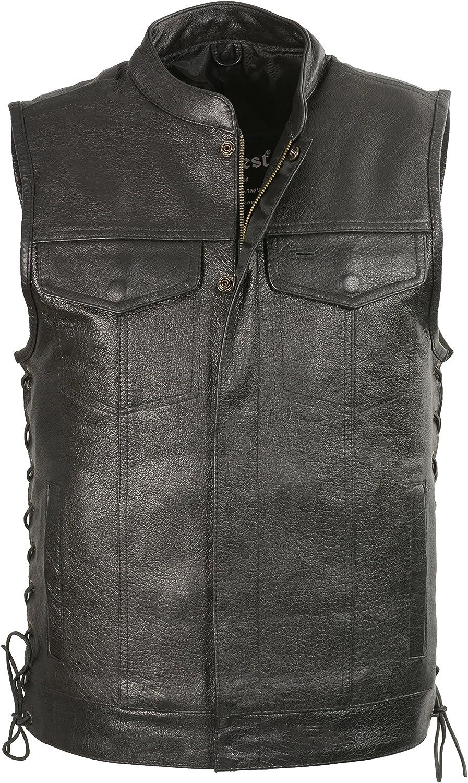 Club Vest Men's Side Lace Snap/Zip Front Club Vest (Black) 1 Pack