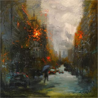 Trademark Fine Art Rainy in South Manhattan by Chin H. Shin, 35x35, Multiple Colors
