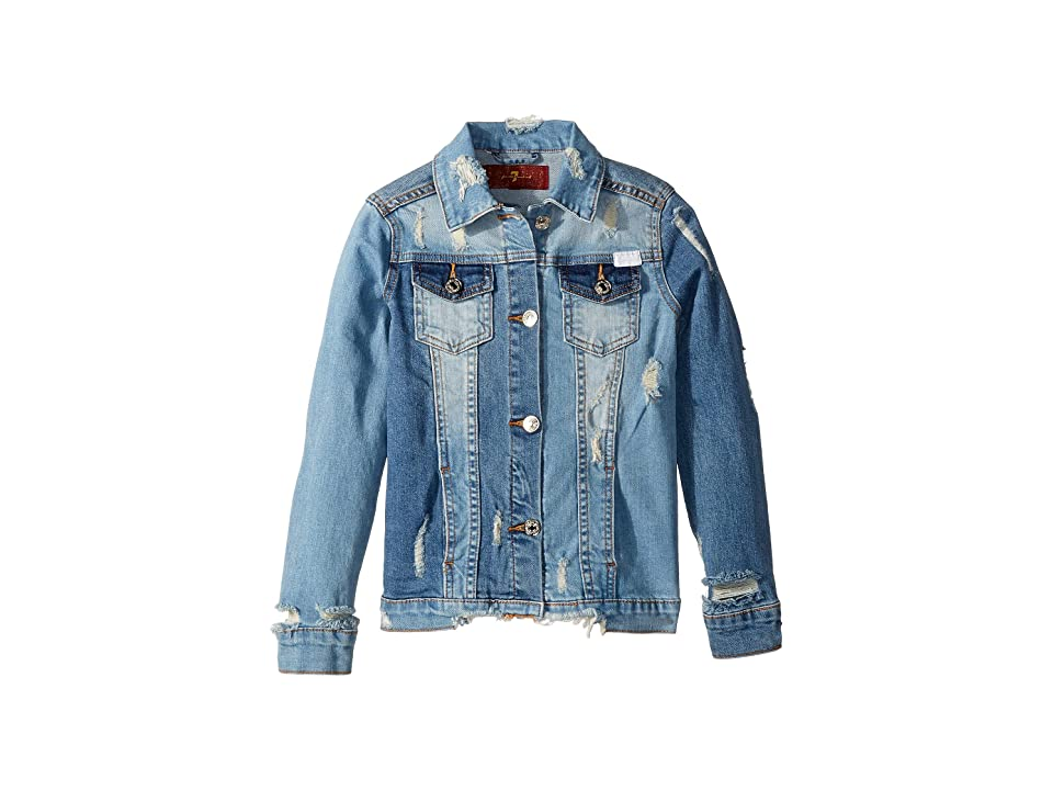 7 For All Mankind Kids Cropped Denim Jacket (Big Kids) (Mixed Wash) Girl