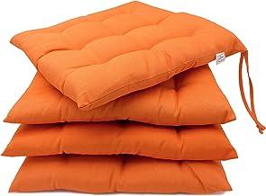ZOLLNER Zestaw 4 poduszek na krzesła z tasiemkami, 40x40 cm, pomarańczowy