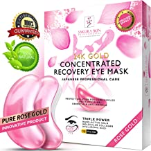 Eye Pads 24k Rose Gold Eye Mask Anti-Aging Hyaluronic Acid Eye Patches Pink Under Eye Mask for Moisturizing & Reducing Dark Circles Puffiness Wrinkles