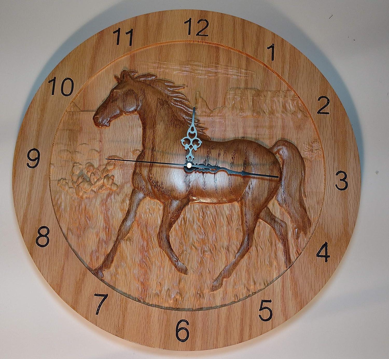 Popular 3-dimensional Horse Clock 15 Oak Solid inch low-pricing