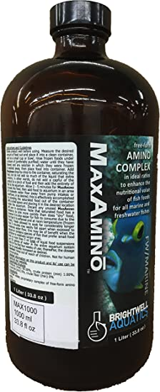 Brightwell Aquatics MaxAmino - Liquid Amino Acid Supplement for Coloration and Growth in Marine Saltwater & Freshwater Fish