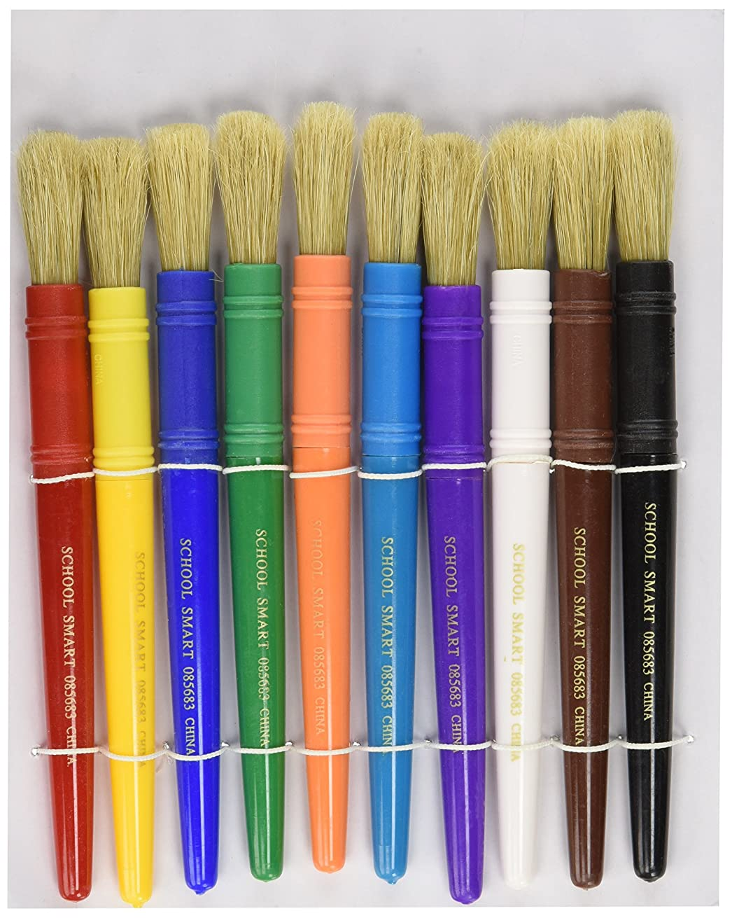 School Smart Beginner Paint Brush Set, 1/2 x 7-1/4 Inches, Assorted Colors, Set of 10