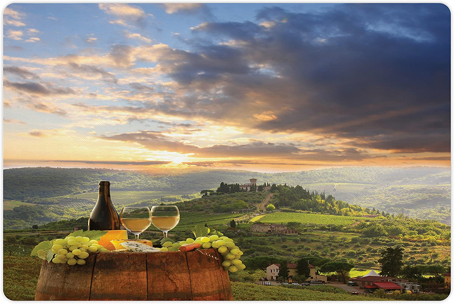 Lunarable Winery Pet Mat for Food and New Ranking TOP7 products world's highest quality popular in Chianti Vineyard Water