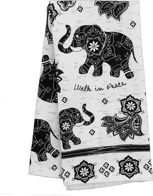 Karma Gifts Black And White Boho Tea Towel Elephant