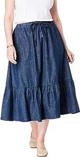 Women's Plus Size Drawstring Chambray Skirt
