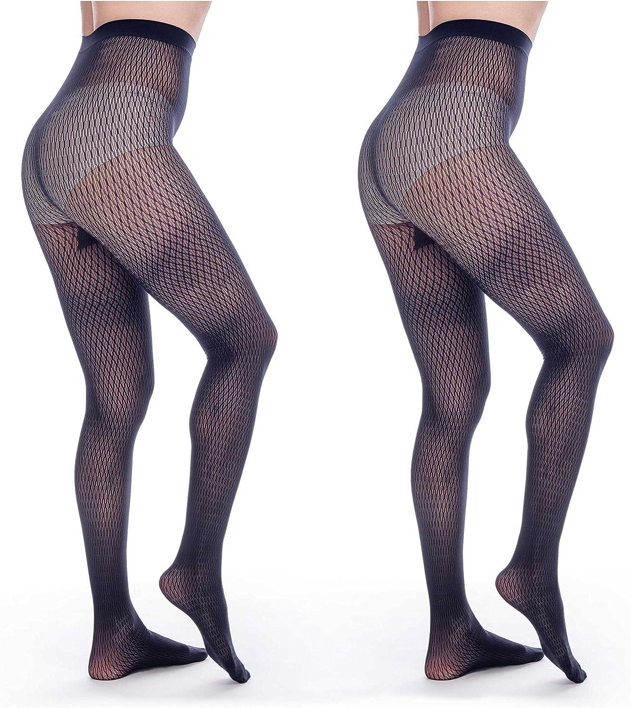 ElsaYX Women's Sexy Seamless Fishnet Lace Jacquard Pantyhose